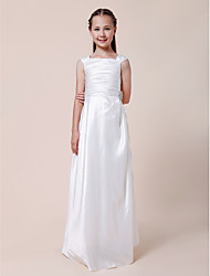 Lanting Bride® Floor-length Taffeta Junior Bridesmaid Dress Sheath / Column Square Natural with Draping / Ruching / Crystal Brooch