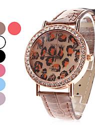 Dames Modieus horloge Kwarts Leer Band Glitter Luipaard  Zwart Wit Blauw Rood Bruin Paars roze Merk
