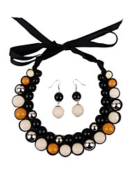 Women's Ribbon Resin Bead Choker Set(incl.earrings)