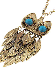 Retro Leaves Owl Sweater Chain Necklace