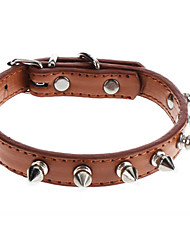 Dog Collar Adjustable/Retractable / Studded / Rivet Red / Black / Brown / Pink PU Leather