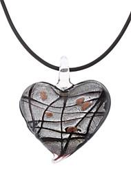 Heart Shape Stripe Coloured Glaze Necklace