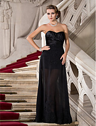 Sheath / Column Strapless Sweetheart Floor Length Chiffon Stretch Satin Evening Dress with Beading by TS Couture®
