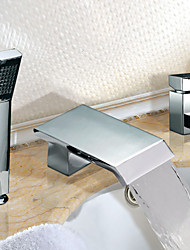Bathtub Faucet - Contemporary - Waterfall / Sidespray / Handshower Included - Stainless Steel (Chrome)