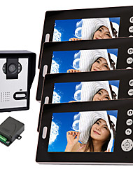Wireless Night Vision Camera with 7 Inch Door Phone Monitor (1camera 4 monitors)