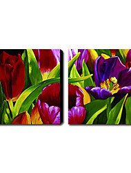 Met de hand geschilderde olieverf Bloemen Set van 2 1211-FL0014
