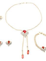 z&x® vergoldet Abhängigkeiten voll-jewelled Halskette Ohrring Ring und Armband Schmuck-Set