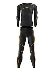 Santic Men's 200G Anti-Microbial Superfine Spandex Body-Hugging Long Suits with Yellow Line Pattern