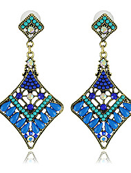Pretty Alloy with Beads and Crystals Square Chandelier Earrings(More Colors)