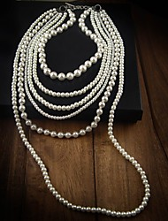 Women's Statement Necklaces Layered Necklaces Pearl Necklace Pearl Fashion White Jewelry Special Occasion Birthday Gift