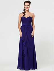 Lanting Bride® Floor-length Chiffon Bridesmaid Dress - Sheath / Column Strapless / Sweetheart / Spaghetti StrapsApple / Hourglass /