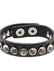 Chamfer Crystal Beads Leather Bracelet