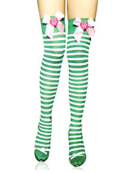 Cute Green Stripes And Bow Sweet Lolita Stockings