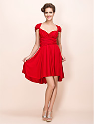 TS Couture Cocktail Party Wedding Party Dress - Convertible Dress Sheath / Column V-neck Knee-length Jersey with Sash / Ribbon Pleats
