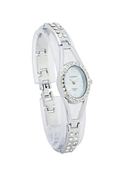Ladies' Alloy Quartz Movement Glass Round Shape with Rhinestone Dress Watch