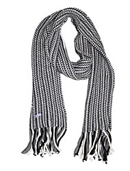 Deniso-Hand Woven Wool Scarf (Gray)