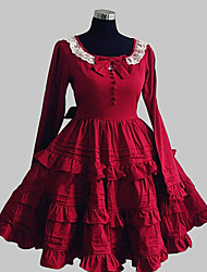 One-Piece/Dress Sweet Lolita Princess / Elegant Cosplay Lolita Dress Red Solid / Bowknot / Lace Long Sleeve Knee-length Dress For Women