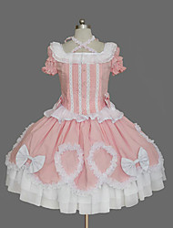 One-Piece/Dress Sweet Lolita Vintage Inspired Cosplay Lolita Dress Pink Vintage Short Sleeve Medium Length Dress For Women Cotton