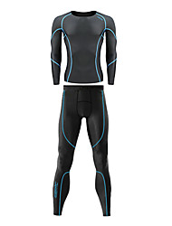 Santic Men's 200G Anti-Microbial Superfine Spandex Body-Hugging Long Suits with Blue Line Pattern