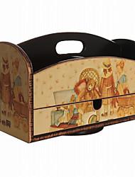 oso estilo antiguo y el patrón chica caja de madera giratorio