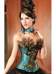 Charming Lace and Acrylic Strapless Peacock Corset(A Set) Sexy Lingerie Shaper