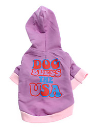 Dog Hoodie Purple Dog Clothes Spring/Fall Letter & Number