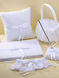 5 Collection Set Ivory Guest Book / Pen Set / Ring Pillow / Flower Basket / Garter