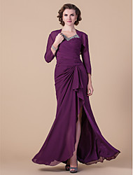 Lanting Sheath/Column Plus Sizes / Petite Mother of the Bride Dress - Grape Floor-length Long Sleeve Chiffon