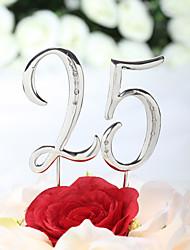 Cake Topper Non-personalized Chrome Anniversary / Birthday Rhinestone Silver Classic Theme PVC Bag