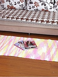 ELAINE Colorful Cotton Carpet Patterned with Stripe (70*140cm,Pink)