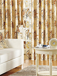 (Two Panels) Energy Saving Khaki Print Linen Curtain