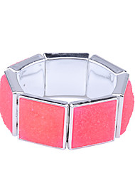 Lureme®Silver Plated Colorful Square Shaped Alloy Bracelet