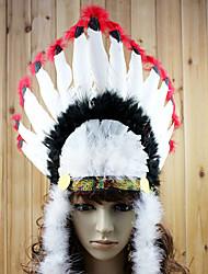 Estilo indio Blanco y Negro y Rojo Feather Celada de vacaciones