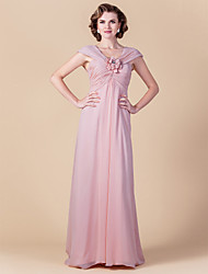 Sheath/Column Plus Sizes Mother of the Bride Dress - Blushing Pink Floor-length Sleeveless Chiffon