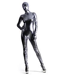 Prata Spandex brilhante metálico Zentai Suit