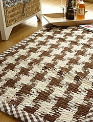 ELAINE Cotton Rug Patterned with Plaid (130*190cm,Coffee)
