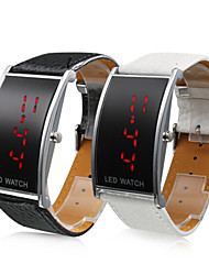 Couple's Red LED Digital PU Band Wrist Watches (1-Pair, Black & White)