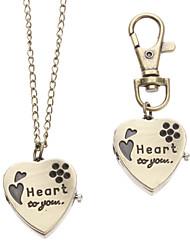 Unisex Heart-shaped Style Alloy Analog Quartz Keychain Necklace Watch (Bronze)