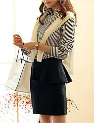 ALAN Solid Color Peplum Slim Skirt