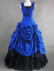 Sleeveless Floor-length Blue Cotton Victorian Gothic Lolita Dress