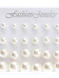 Shining Pearl Earrings Jewelry Set (Contain 12 Pairs)(6/8/10/12mm)