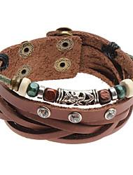 Кристаллические шарики заклепки кожаный браслет