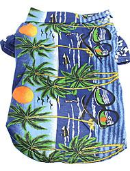 T-shirt-Chien-Eté-Bleu Vacances- enCoton