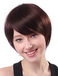 Capless court brun Droite 100% Human Hair Wigs