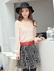 NAwain Solid Color Lace Pleats Blouse Shirt