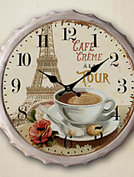 "13.5""H Paris Scenery Metal Wall Clock"