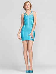 Mantel / Spalte Riemen kurz / Mini-Rayon Simple Design Bandage Dress