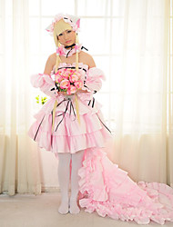Inspiré par Chobits Chii Manga Costumes de Cosplay Costumes Cosplay Robes Mosaïque Rose Manche Longues Jupe Robe Colliers Manche Pour