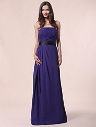 A-Line Princess Strapless Floor Length Chiffon Bridesmaid Dress with Draping Sash / Ribbon Side Draping by LAN TING BRIDE®