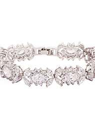 Fashionable Alloy Plating Platinum With Crystal/Cubic Zirconia Women's Bracelet